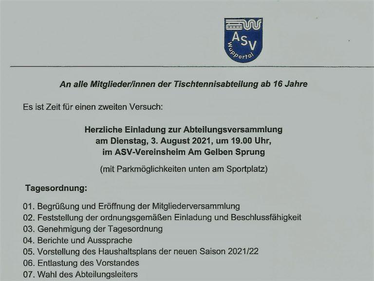 Einladung Abteilungsversammlung 2021